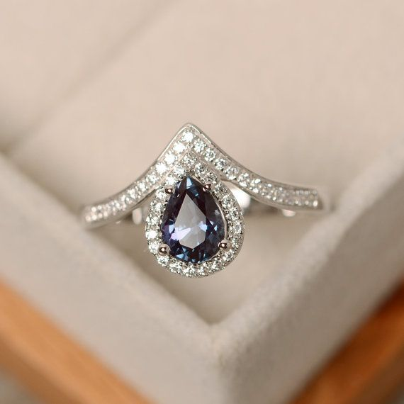 Alexandrite ring pear cut silver engagement ring