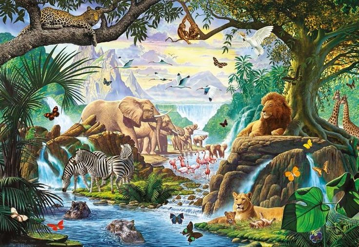 Animals at the Waterhole | Glow in the dark puslespil fra Ravensburger