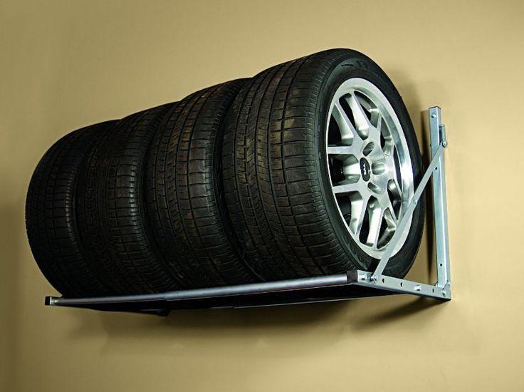 Wall Mount Tire Rack Garage Folding Storage Loft Wheels Holder Auto Tires Shelf