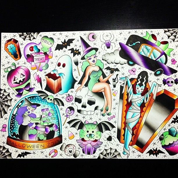 Halloween Flash tattoos. I love all of them! I want one so bad now!