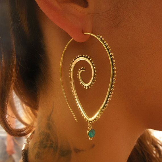 Brass Earrings - Brass Spiral Earrings - Gypsy Earrings - Spiral Jewelry - Brass Jewelry - Gypsy Jewelry - Ethnic Jewelry (Code: EB47) Beautiful bras earrings decorated with turquoise. Suitable for normal ear piercing. Length: 63mm Width: 42mm sold as pair only! $30