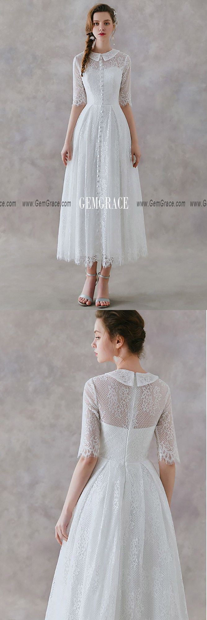 French Vintage Lace Tea Length Wedding Dress With Collar Half Sleeves #YS602 at …