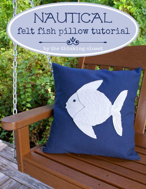 Nautical Felt Fish Pillow Tutorial by thinkingcloset.com