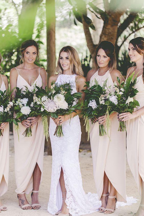 Neutral bridesmaid dresses for a modern garden wedding