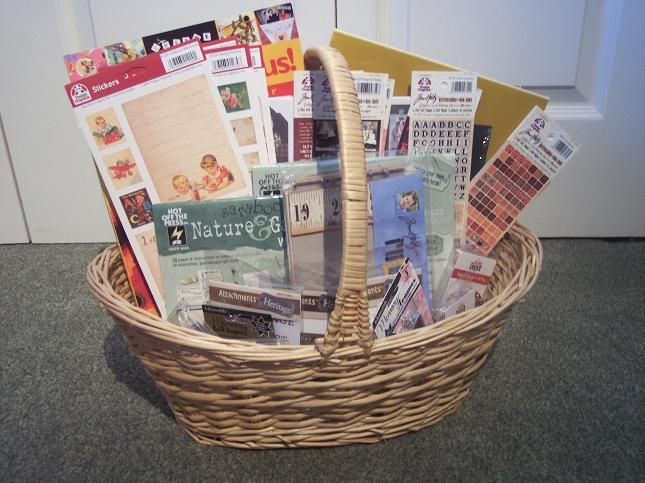 Art Raffle Basket : Scrapbook basket for silent auction misc school