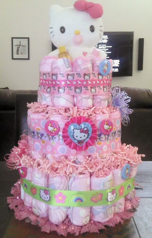 My first cake.... Hello Kitty Diaper Cake!