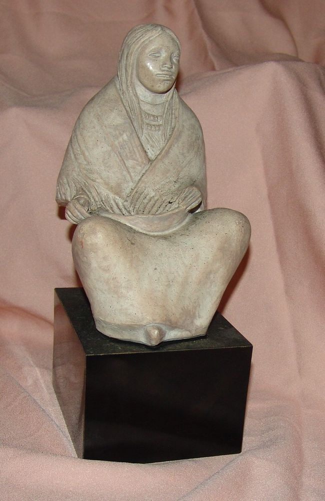 Seated Squaw Sculpture By Austin Prod Inc 1988 American