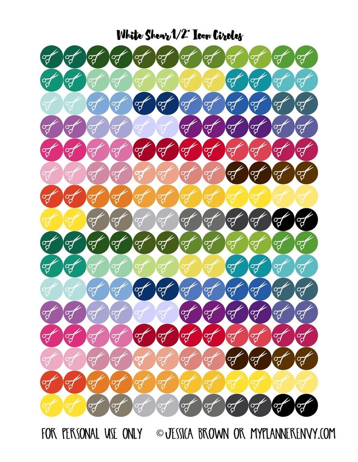 My Planner Envy: How to make Icon Planner Stickers - Free printable White Scissor Circles