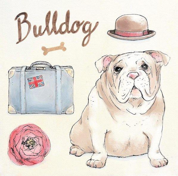 """""""Bulldog Escapades"""" dog-themed original artwork by Kerri Elliott via www.artinmotion.com"""