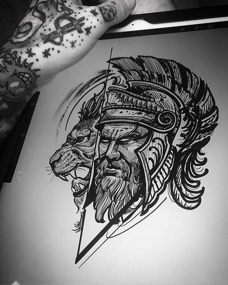 Disponível para tatuar por valor especial!. . Orçamento e agendamento SOMENTE NO TELEFONE 27 999805879 de segunda a sexta de 8 as 17 hs! . . Não respondemos direct. . #kadutattoo #tattoo #tattoos #drawn #drawing #sketch #warrior #gladiators #elmo #lion #leao #blackwork #ipad #ipadpro #apple #procreate #procreateapp