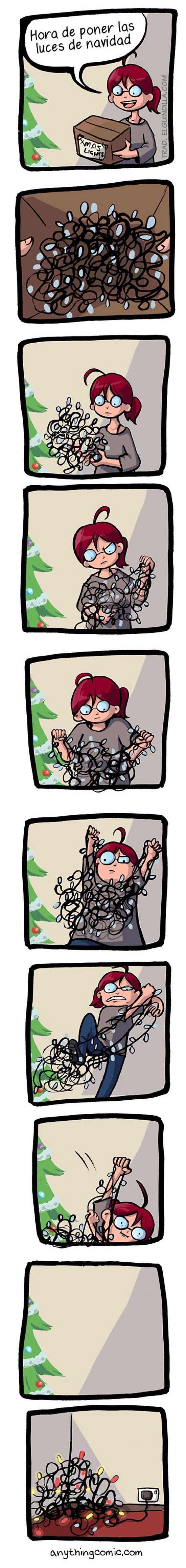 Hora de poner las luces de Navidad.