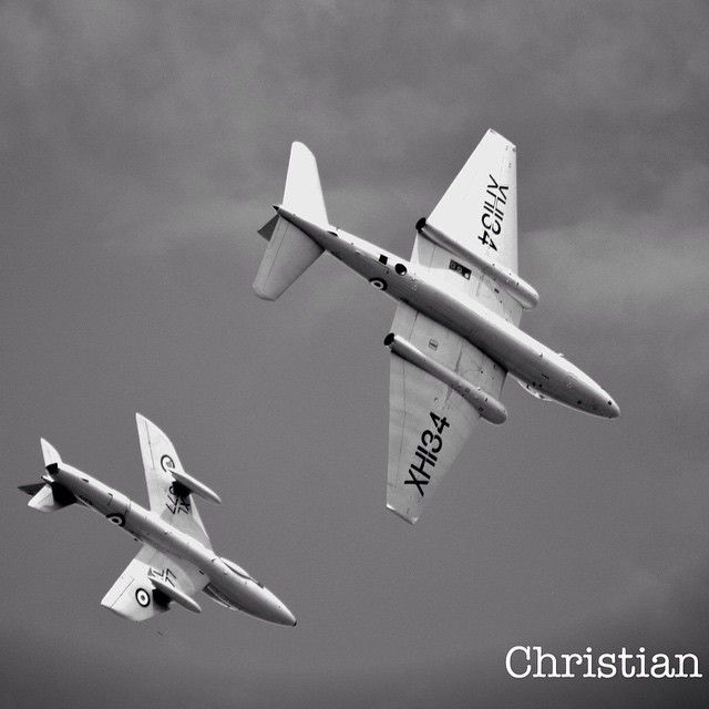 Hawker Hunter & English Electric Canberra formation flight