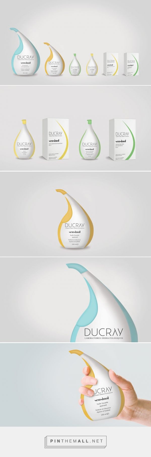 Ducray Sensinol Concept droplet shampoo packaging designed by AmproDesign​ - http://www.packagingoftheworld.com/2015/12/ducray-sensinol-rebranding-concept.html