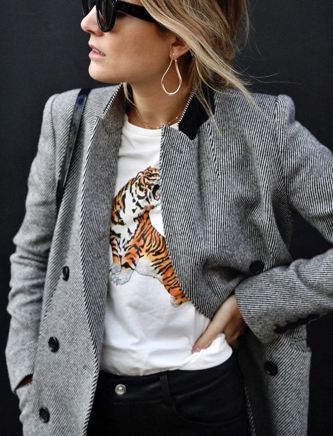 Grey coat, lion embroidered t-shirt & gold loop earrings | @styleminimalism