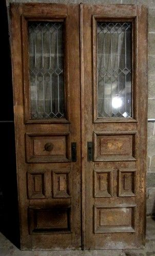 Antique Double Entrance French Doors Leaded Glass