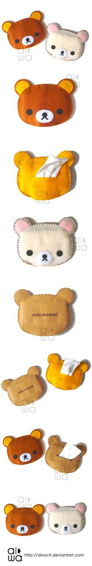 How to make a Rilkkuma tissue pouch.