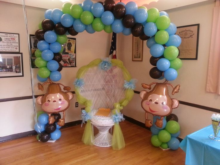 Monkeys are so cute for a baby shower this arch $150.00 by The Balloon Boss 973.800.7675