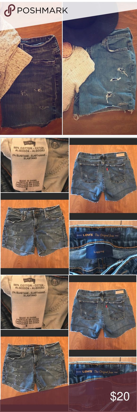 """Levi's Shorts Lot **HOMEMADE** two pairs of size 8 (fees like a 6) shorts, with an inseam of about 2.5"""". From a 🐶 friendly home. Levi's Shorts Jean Shorts"""