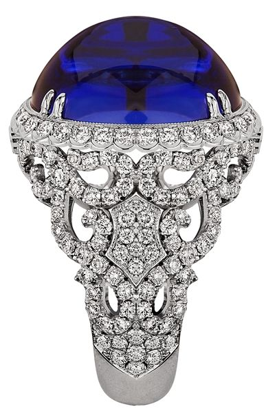 Jack Kelege Platinum and Cabochon Tanzanite Ring.