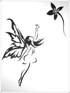 Fairy Tattoo Black And White. Add the word love in script to the outstretched hand - no flower.