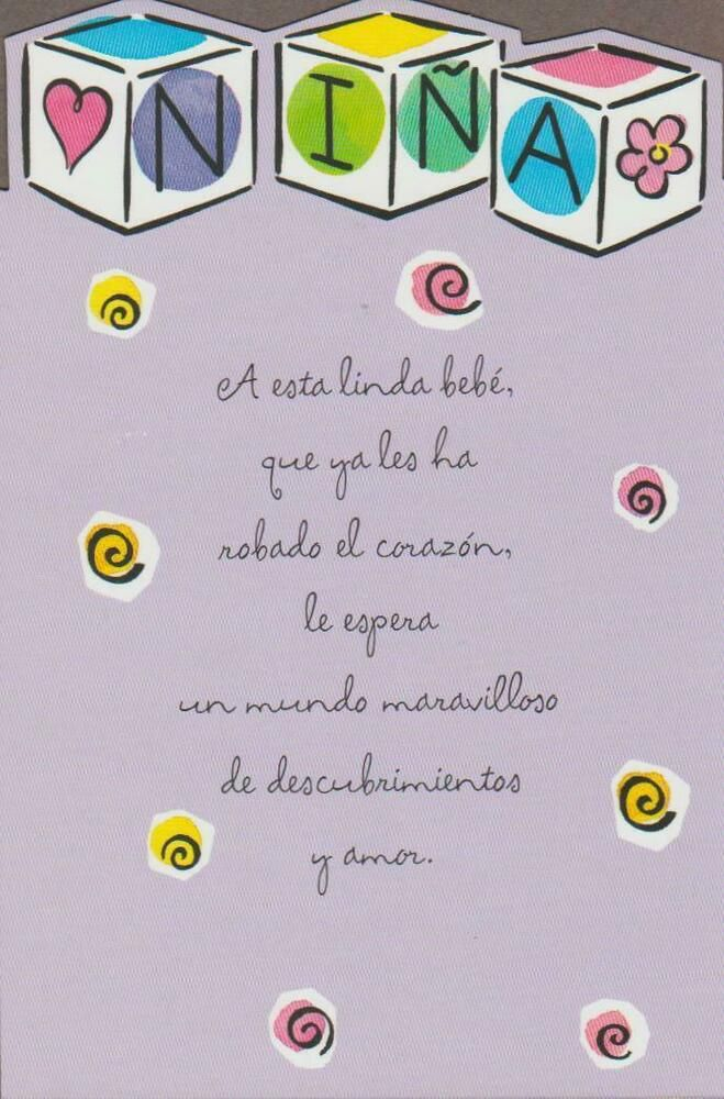 Spanish New Baby Greeting Card Baby Girl Tenderthoughts Newbaby Baby Greeting Cards New Baby Greetings Baby Messages