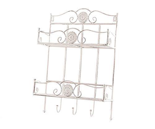 #Pensile con ganci in ferro bianco decapato colore Bianco decapato  ad Euro 35.00 in #Detall item #Furniture storage furniture