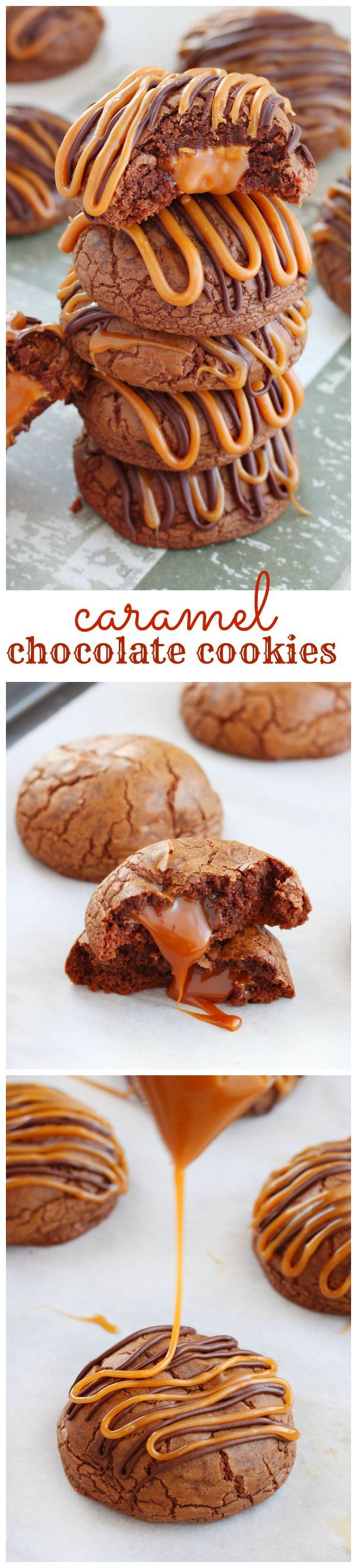 Irresistible rich chocolate cookies stuffed with gooey caramels and finished with a drizzle of caramel and melted chocolate. Deliciousness in every bite!