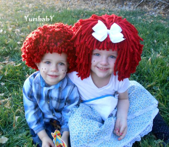 Raggedy Ann Wig Halloween Costume Toddler Hat Raggedy by YumbabY
