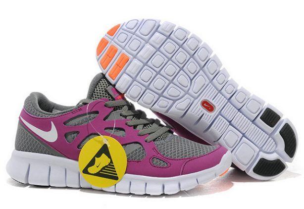 Femmes Nike Free Run 2 De Course Gris Blanc Magent Chaussures