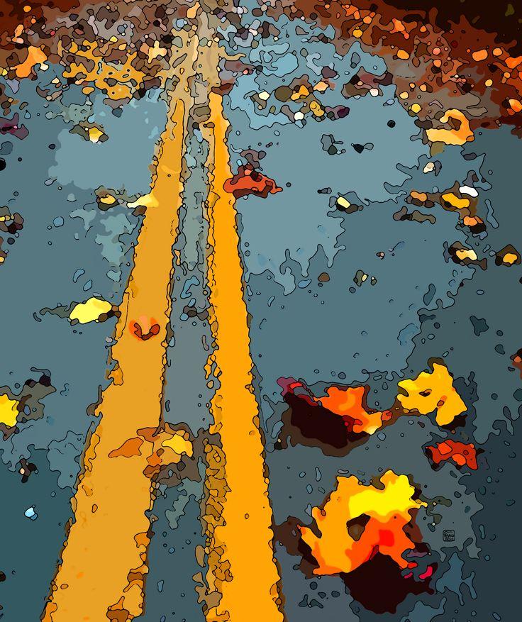 Stradacon foglie e righe gialle2015/DIGITAL ART/Giuseppe Tabacco