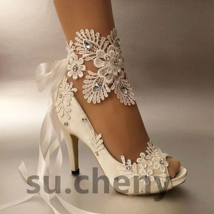 """3"""" 4"""" heel white ivory satin lace ribbon open toe Wedding shoes bride size 5-9.5 #OpenToeplatform"""