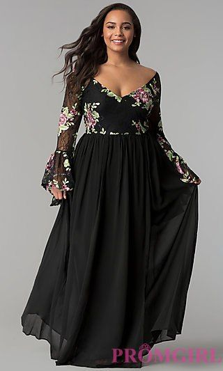 20fb95846c5 Sleeved Embroidered-Bodice Long Plus-Size Prom Dress