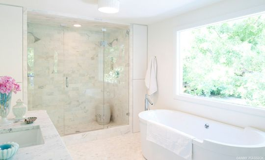 White Bathroom - Marble Two person Shower - Contemporary Bathtub