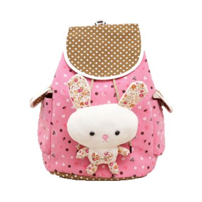Hot pink bunny plush backpack