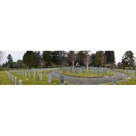 Tombstones in a Veterans cemetery Vancouver Island British Columbia Canada 2011 Canvas Art - Panoramic Images (20 x 5)