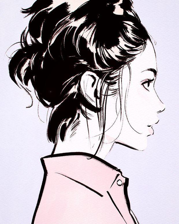 Картинки нарисованных девочек по бокам