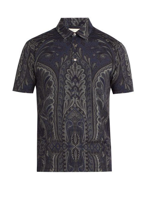 147434d82090c ETRO ETRO - PAISLEY PRINT COTTON POLO SHIRT - MENS - NAVY MULTI. #etro  #cloth