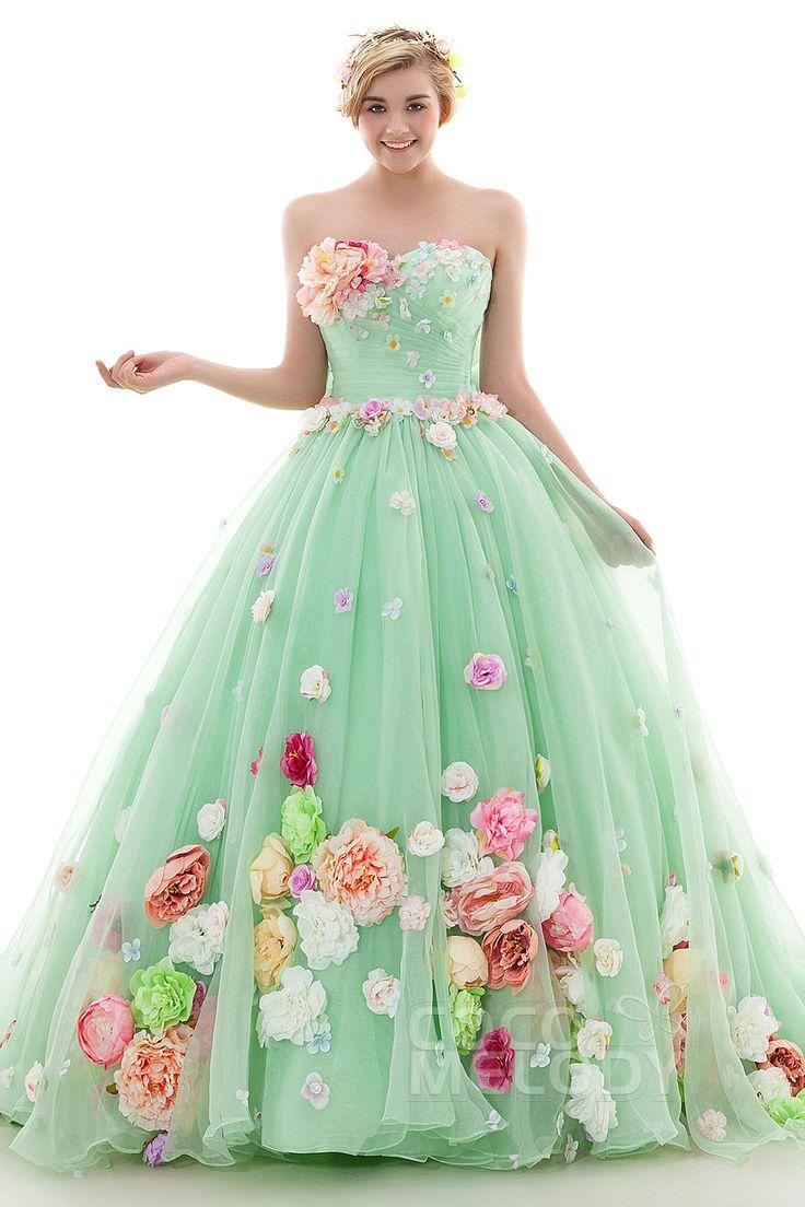 カラードレス プリンセス メロングリーン リボン カラフルドレス お花いっぱい オーガンジ LD4024