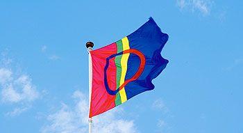 The Sami flag. Sami national day is 6th February and was celebrated the first time 1993. Samernas nationaldag firas sedan 1992 den 6 februari för att fira minnet av den första samiska kongressen som ägde rum denna dag 1917 i Trondheim. Samernas nationaldag firas i hela Sameland. Dagen firades första gången 1993.
