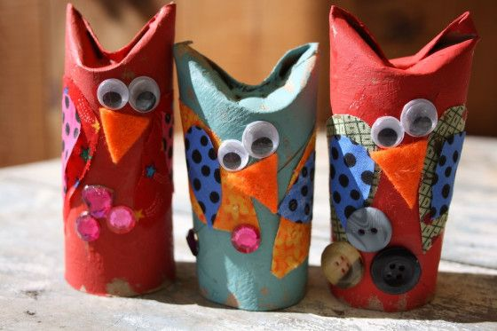 Adorable Owl Craft - toilet rolls and fabric scraps.