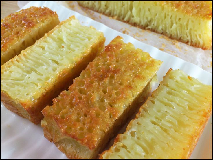 Sweet: Kueh Bingka Ambon (Ambon Honeycomb Cake) recipe - Ambon cake is made with tapioca starch, eggs, coconut milk, sugar and yeast. Src : http://kitchentigress.blogspot.sg/2012/09/kuih-bingka-ambon-video.html