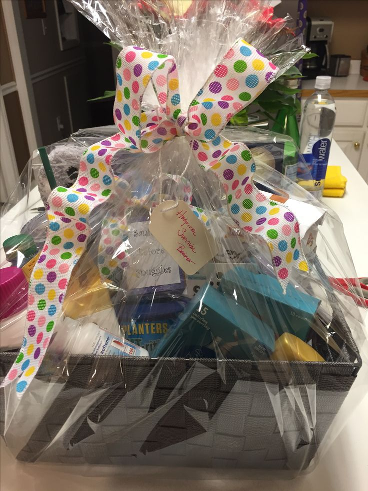 Gift wrapped new mom hospital survival basket