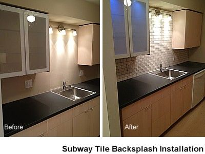 "This tutorial provides you with photo rich step-by-step instructions and tips on how to install 2"" x 4"" ceramic subway tiles as a kitchen backsplash in preparation for final grouting.: Installing Ceramic Wall Tile"