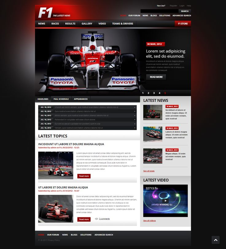 Formula 1 Drupal Theme