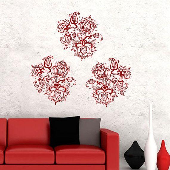 Wall Decals Indian Pattern Yoga Vinyl Sticker Decal Bedroom Studio Window  Gym Decor Home Interior Design