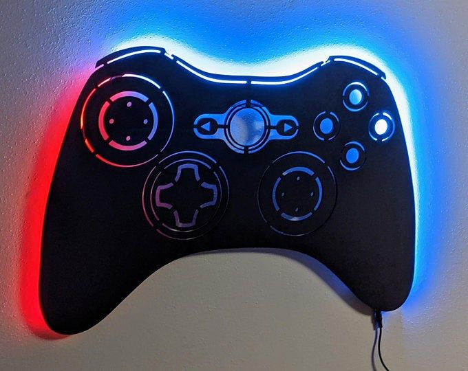 Large Led Lighted Xbox Inspired Game Controller Wall Art Etsy In 2020 Video Game Decor Playstation Controller Led Color Changing Lights