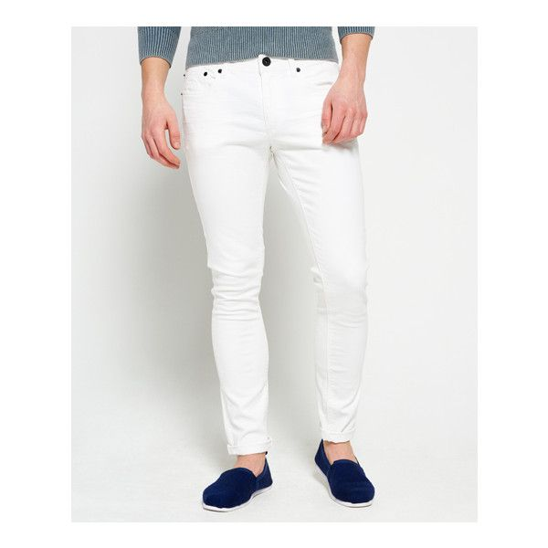 Superdry Skinny Jeans ($37) ❤ liked on Polyvore featuring men's fashion, men's clothing, men's jeans, white, mens white skinny jeans, mens vintage jeans, mens jeans, mens white jeans and mens skinny jeans