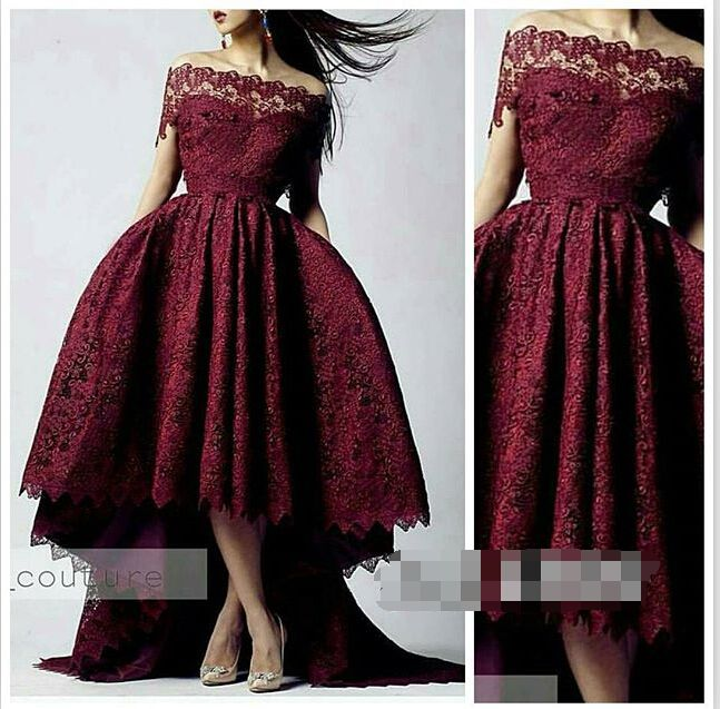 Гламурная темно-красный вечерние платья ну вечеринку платья 2015 лодка шея от плеча с чисто кружевные привет-ло длинный поезд Abendkleider