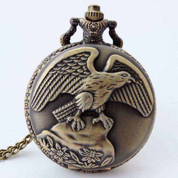 Винтажный Eagle бронза кварцевый большой карманные часы ожерелье цепь подарок P48