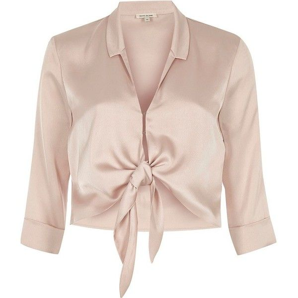 River Island Nude satin tie front shirt (160 MYR) ❤ liked on Polyvore featuring tops, shirts, pink, tie crop top, 3/4 sleeve tops, satin crop tops, pink top and tie front top